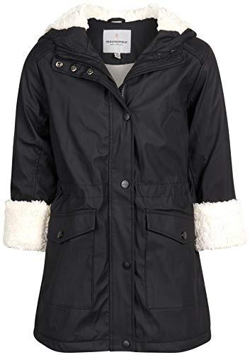 Urban Republic Girls Hooded Rain Jacket with Fur Lining, Size 10/12, Solid Black