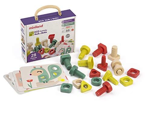 Miniland- Juego de tornillos y tuercas para enroscar con actividades (32155)