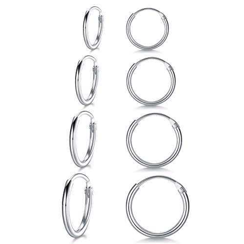 LYTOPTOP 4 Pairs Silver Hoops Earrings for Women S925 Sterling Silver Small Sleeper Hypoallergenic Earrings Set Cartilage Nose Lip Rings for Men Girls, 8mm 10mm 12mm 14mm