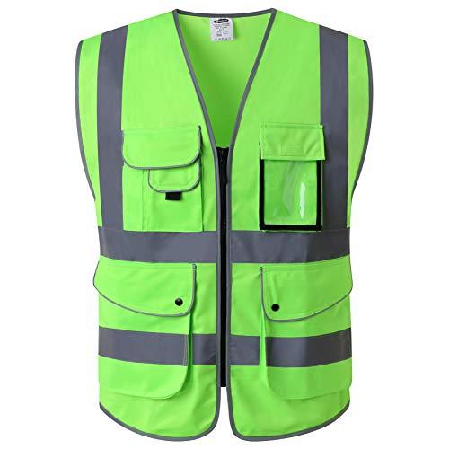 JKSafety Nueve bolsillos Nivel 2 Uniforme trabajo Chaleco con cremallera-Chaleco reflectante fluorescente-Chaleco de segurida Verde(X-Large)