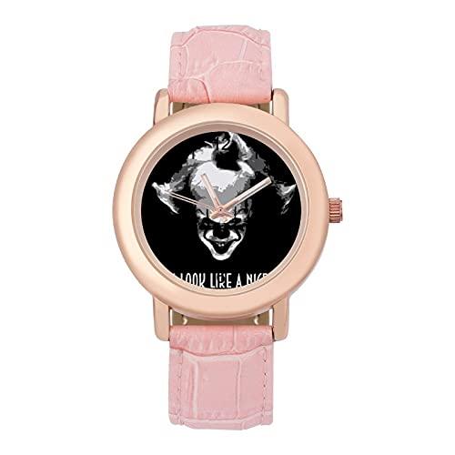 Black IT PennywiseLadies Reloj de cuarzo con correa de cuero 2266 espejo de cristal redondo rosa accesorios casuales moda temperamento 1.5 pulgadas