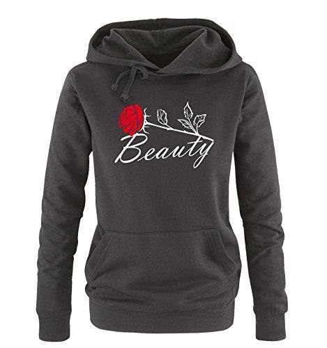 Comedy Shirts - Beauty - Damen Hoodie - Schwarz/Weiss-Rot Gr. L
