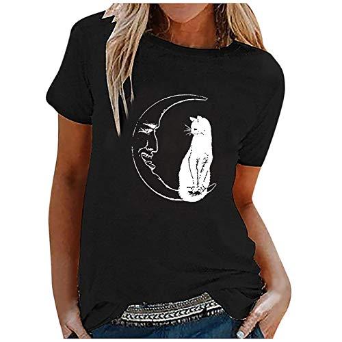 Damen Bluse Tops Langarm Frauen Mond und Katze drucken T-Shirt Pullover Sweatshirt Tops Female Teenager Mädchen Ramadan Geschenk S M L XL XXL XXXL XXXXL XXXXXL (Schwarz,L)