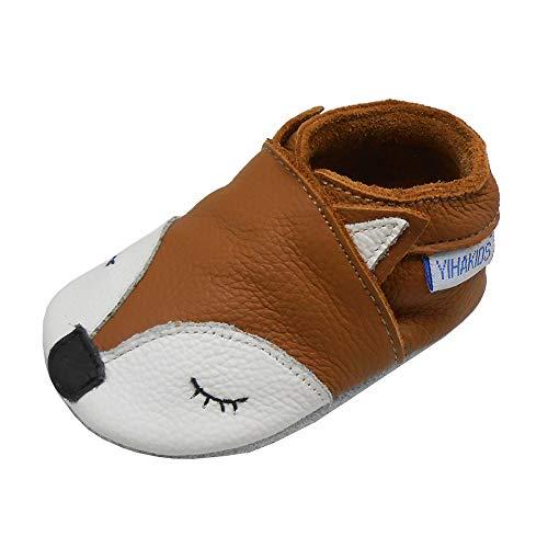 YIHAKIDS Weiche Krabbelschuhe Babyschuhe Lauflernschuhe Kleinkind Lederschuhe Hausschuhe Lernlaufschuhe Fuchs(Size M,Braun,6-12 Monate,21/22 EU)