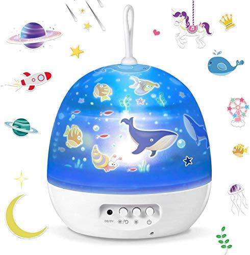 Luz de Noche, Lámpara Proyector, Iluminación Romántica con Rotación 360 Grados de Estrellas y Cosmos,Lámpara Infantil con...