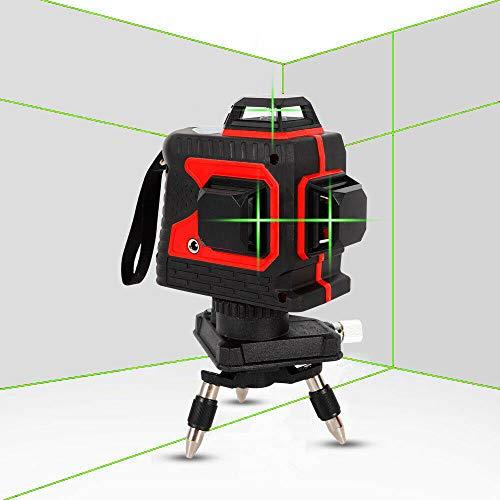 Kruislijnlaser 12 lijnen 3D Groen/Rood Laserniveau 25m Cross Line 360° Rotary Horizontale Verticale Licht Machine IP 54 (Rood schaal groene licht)