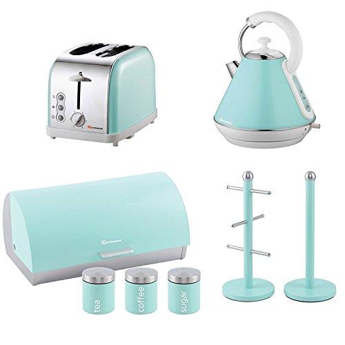 Set aus Toaster, Wasserkocher, Brotkorb, 3 Aufbewahrungsdosen, Becherbaum und Küchenrollenhalter - Mintgrün
