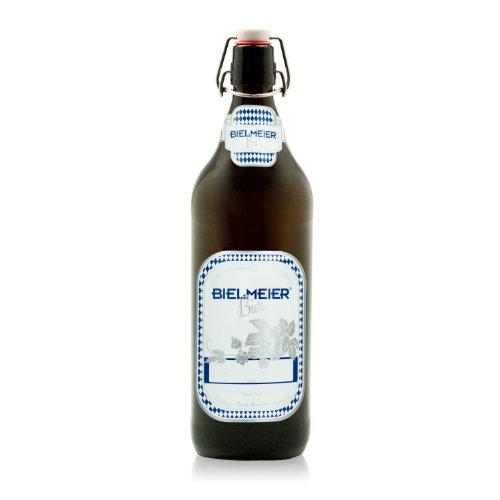 Bielmeier 040028 - Botellas para cerveza con etiqueta adhesiva (6 unidades, soporta hasta 12 bares, 1 l)