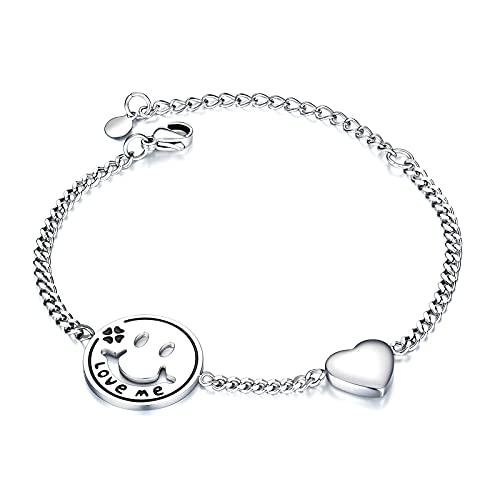 1 pulsera de acero de titanio con forma de corazón con diseño de corazón de Laides