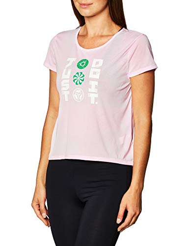 NIKE Icnclsh - Camiseta para Mujer, Mujer, CU3040, Color Rosa y Blanco, Extra-Small