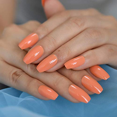 False Nails Light Orange Glitter Solid Color Full Coverage Nail Tips Fake Press On Adhesive Coffin Nails With 24