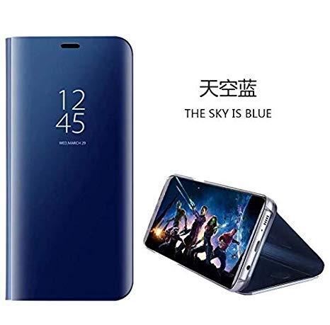 hyujia Compatible para Xiaomi Redmi 6A/Redmi 6 Carcasa 2018/Funda Inteligente Fecha/Hora Ver Espejo tirón del Caso Soporte Plegable/Duro Shell Teléfono Case Cover para Xiaomi Redmi 6A Azul