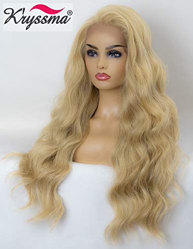 K'ryssma Blonde Lace Front Wig Long Wavy Synthetic Wigs for Women #613 Mixed Light Blonde Lace Wig 24 inches Heat Resistant