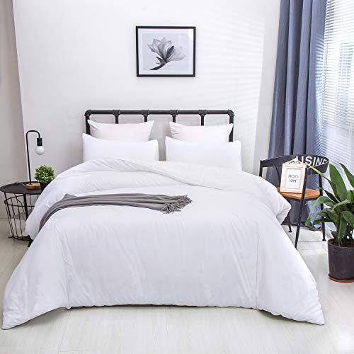 Wellboo White Comforter Sets Plain Color Bedding Sets Queen Women Men All White Bedding Sets Adult Teen Light Color Quilt Lightweight Solid Color Durable Blankets Breathable Health with 2 Pillowcases