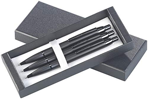 PEARL Metallkugelschreiber: 3er-Set hochwertige Druck-Kugelschreiber, Metall, in Aufbewahrungsbox (Kugelschreiber Geschenkset)