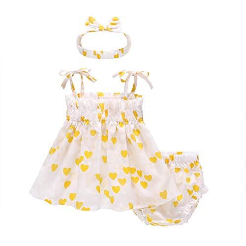 Feidoog 女の子 ベビー服 夏服 上下3点セット 幼児スカート ショートパンツ ヘアバンド かわいい ハート ゴムひも フリル 蝶結び 3色 出産祝い イエロー 90