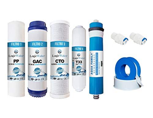 JACAR - Ahorro Filtros de Osmosis inversa 5 etapas Purificadores de Agua Universales - Nuevo Formato de filtracion Gold | Membrana Aquafamily + Rollo de Teflon y Terminales