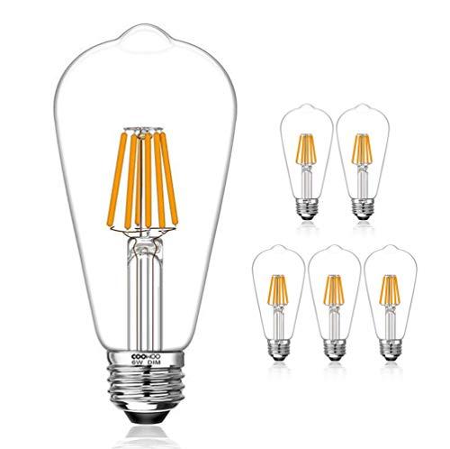 LED Edison Light Bulbs, 60W Equivalent Dimmable E26 Vintage Filament Pendant Light Bulbs, 2200K Warm White 6W UL-Listed Pack of 6