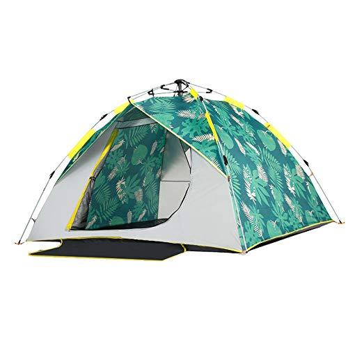 Rahmen Zelte Automatische Tent Freie Kinder-Indoor Eindickung Regenfest Einzel Doppel Camping Outdoor-Camping Ideal für Camping Wandern Außen (Color : Plantain Print, Size : 2-3 People)