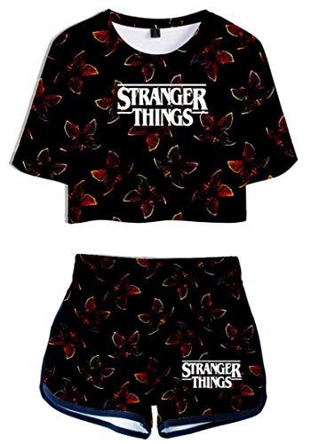 Silver Basic Stranger Things 3D Imprimiendo Camisetas y Shorts Ropa Deportiva de Verano para Niñas