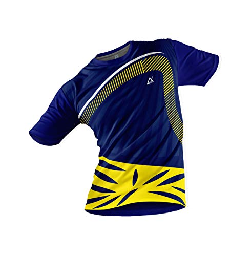 JJ TEES Polyester Half Sleeve Jersey with Round Collar and Digital Print All Over for Men (Size:XXL) (Color: Navy Blue and Yellow)