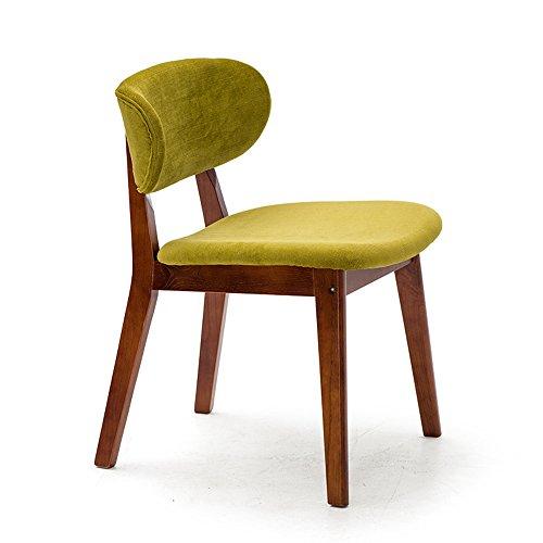 Moderne simple salle à manger chaise en bois massif décontracté, bureau créatif et chaise, chaise de salle à manger nordique, chaise arrière adulte (Couleur : Yellow-green)