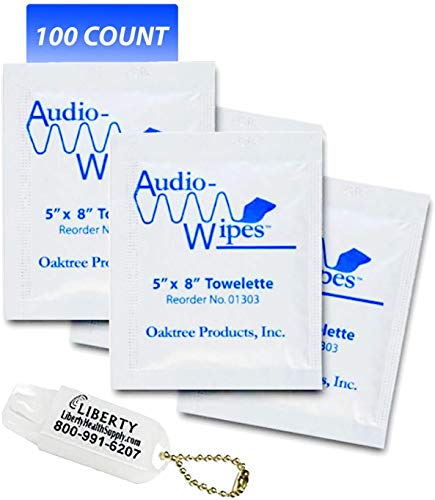 Audio-Wipes Cleaning Towelettes, Individually Wrapped, Package of 100 and Liberty Hearing Aid Battery Keychain Michigan