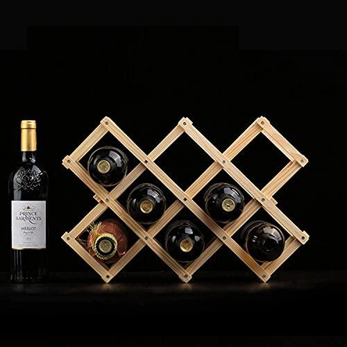 BGHDIDDDDD Novedad Estante para Vinos, 4 Capas, Apilable, para Vino, Plegable, Encimera de Madera, Gabinete para Vino, Estante para Alenamiento, Bodega, Independiente, para Bares, Bodegas, Sótanos, D