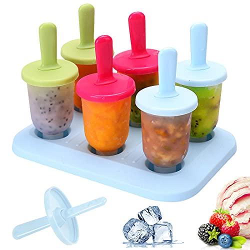 Bluelves Eisform, 6 EIS am Stiel Formen Mini DIY Ice Pop Lolly Popsicle Eisförmchen Eisformen Popsicle Formen Set Wiederverwendbar Popsicle Sticks, 3 Farben