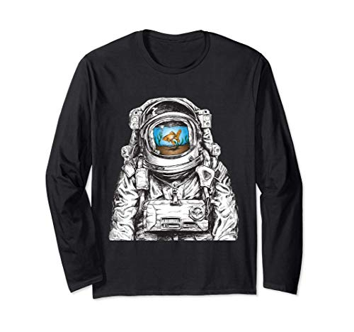 宇宙服宇宙飛行士金魚宇宙グラフィックの水槽 長袖Tシャツ