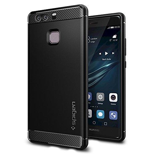 Spigen, Funda Compatible con Huawei P9 [Rugged Armor] Absorción de Choque Resistente y diseño de Fibra de Carbono [Compatible con Carga Inalámbrica] - [Negro Mate]