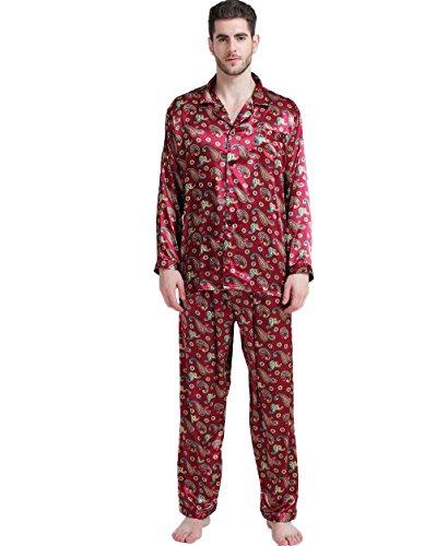 Herren Seide Schlafanzug Pyjama Homewea Rot XXXX-Large