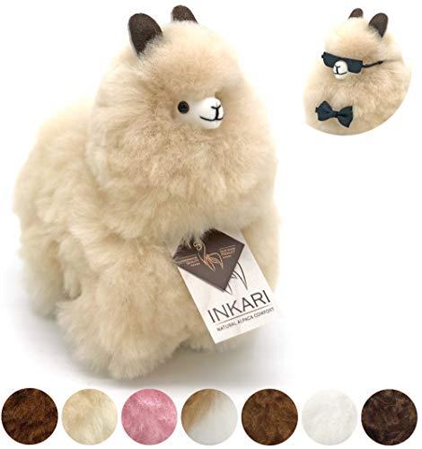 Alpaka Plüschtier aus echter Alpaka-Wolle, handgefertigte Unikate, fair und nachhaltig produziert, weiß und braun, großes Stofftier, hypoallergen (S (23cm), beige)