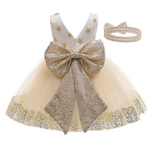 Vestido de Bautizo + Diadema Recién Nacido Bebés sin Mangas Verano Transpirable Traje de Ceremonia Boda para Niñas Vestido de Princesa Elegante con Lazos Cumpleaños (Champán Estrella, 1-2 Años)