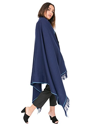likemary Merino Wool Wrap Shawl & Blanket Scarf Oversize Fairtrade Pashmina Shoreditch Jeans Blue 100 x 200cm