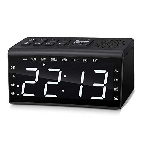 XJYA Digital Radio Wecker Doppelter Alarm Temperatur Schläfchen Tag Zeit Dimmbar Hinterleuchtet 6,5 Zoll LED Bildschirm Wecker DST Radio EU-Stecker