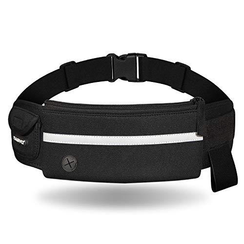 TAGVO Running Cintura Pack, con elástico de la Correa Apto para Todas Las Mujeres Hombres Sudor Prueba, Deporte cinturón con Reflectante Parche para Llevar Las Llaves, Tarjetas, dni, Pasaporte