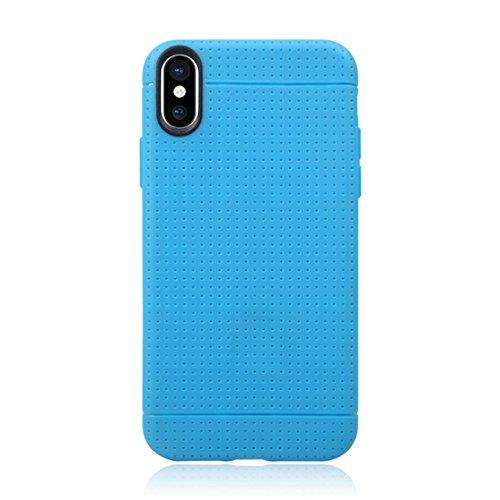 SmartProtectors! Softcase / Hülle / Cover / Schutzhülle für Apple iPhone X im Honeycomb Design blau