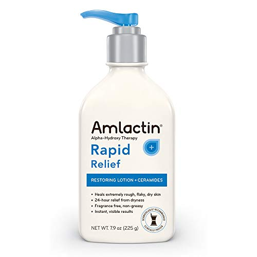 AmLactin Rapid Relief Restoring Lotion + Ceramides   24-Hr Dry Skin Relief   Powerful Alpha-Hydroxy Therapy Gently Exfoliates   Lactic Acid (AHA) Restores Rough Flaky Dry Skin   Paraben-Free 7.9 oz.