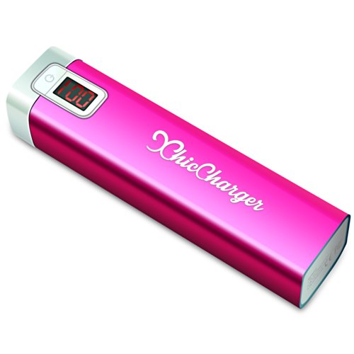 ChicCharger Lipstick Sized Portable Charger - Best Powerbank for Women - Backup Battery for Smartphones- Top Quality Samsung Rechargeable Battery Cells - iPhone 4 iPhone 5 iPhone 6 Galaxy S4 Galaxy S5 - Travel Charger for Cell Phones - USB External Battery Pack - 2800mAh (PINK)