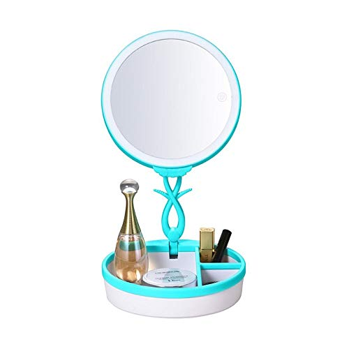 Lámpara Escritorio Lámpara táctil interruptor USB carga colorido maquillaje espejo lámpara de escritorio led luz de la atmósfera con caja de almacenamiento, DC 5V 19.2 * 19.2 * 7,8 cm ( Color : Blue )