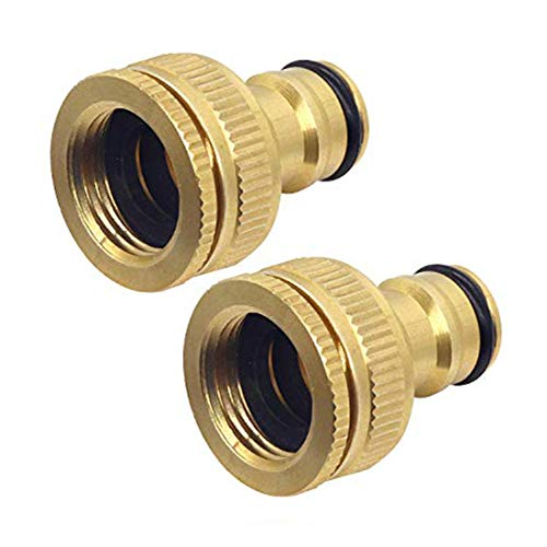 Hydrogarden Brass Garden Hose Tap Connector, Universal 1/2 Inch and 3/4 Inch 2-in-1 Female Threaded Faucet Adapter for Home Yard/Washing Machine Thread Water Faucet.