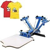 Husuper Máquina de Serigrafía 4 Colores 1 Estación Paleta de 45x55 cm Máquina de Impresión de Pantalla de Seda Área de Impresión Acero Máquina de Impresión Pantalla Presión de Camiseta