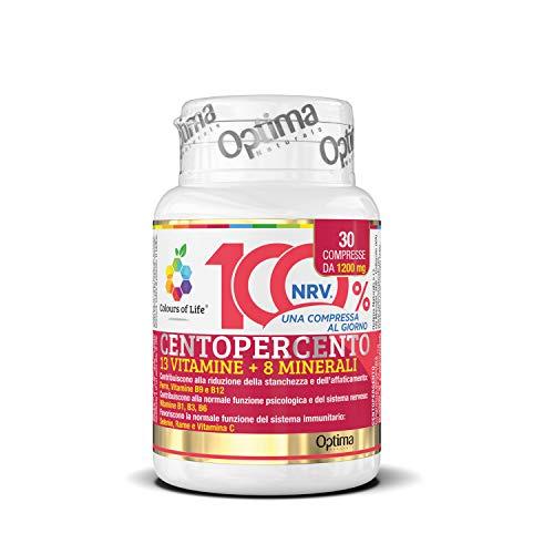 Colours of Life Centopercento - Integratore Multivitaminico e Multiminerale, con 13 Vitamine e 8 Minerali - per la Normale Funzione del Sistema Immunitario - Senza Glutine e Vegano, 30 Compresse