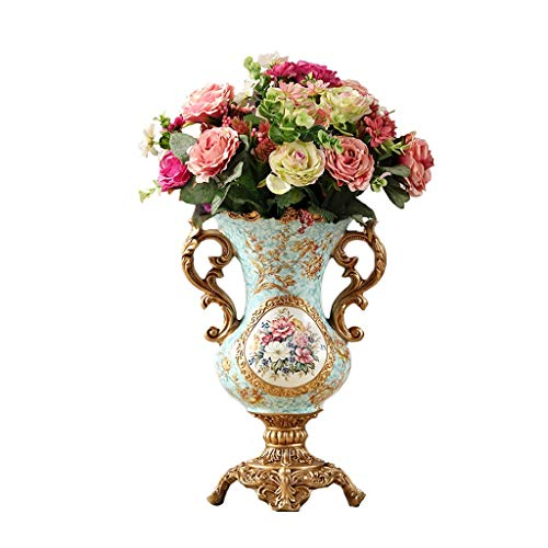 CZX 8,6 inch breed 19,2 inch hoog ronde hars bloemenvaas met kunstbloem, metalen handvat decoratieve vaas voor huisdecoratie woonkamer kantoor en plaats instelling (licht groen)