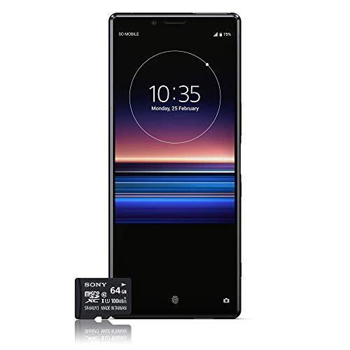 """Sony Xperia 1 Smartphone Débloqué 4G (Ecran: 6, 5"""" - 128 Go - Double SIM - Android 9.0 PIE) Noir + Carte mémoire 64 Go Offerte [Exclusivité Amazon] - Version Française"""