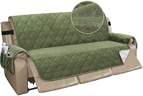 LJM Copridivano reclinabile Copridivano reclinabile in Velluto per 3 Cuscini Copridivano Trapuntato Copridivano Antiscivolo Copridivano per mobili con 2 Cinturini Elastici (Verde,78'X-Large)