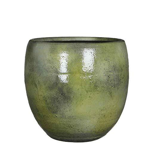Mica Decorations Ingmar Bloempot, glad, glanzend, handgemaakt, H 27 x Ø 27 cm, bloempot groen