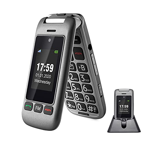 Artfone Premium Teléfono Móvil con Botón Grande 3G Móvil Doble Pantalla Teléfono Premium sin Contrato, con Botón de SOS Llamada FM Linterna (con Base de Carga), Gris