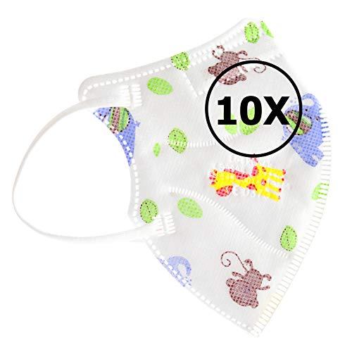 TBOC FFP2 Masken - [Pack 10 Einheiten] Einwegmasken [Kleine Größe] [Elefanten Giraffenaffen] 5 Schichten [Nicht Wiederverwendbar] Atmungsaktives Falten mit Nasenklemme [Zertifiziert Genehmigt CE 0370]